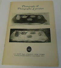 1970 PHOTOGRAPHS & PHOTOGRAPHIC LITERATURE, Parke-Bernet Gallery auction CATALOG