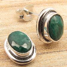 Simulated EMERALD Gems Women s Jewelry Little Stud Earrings 925 Silver Plated
