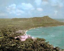 "WAIKIKI BEACH DIAMOND HEAD HONOLULU HAWAII 1934 8x10"" HAND COLOR TINTED PHOTO"