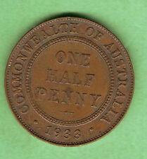 1933  AUSTRALIAN BRONZE HALFPENNY  COIN