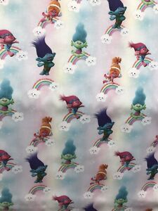 Kids Dreamworks TROLLS rainbow design cotton fabric 150cm wide