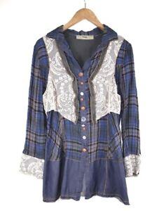 Bottega by Elisa Cavaletti Cotton Plaids And Checks Tunic Shirt Collared Size M