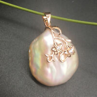 Rose Gold Baroque Large White KASUMI Pearl Sterling Silver S925 Style Pendant