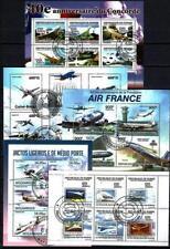 Avions lot de 10 séries oblitérés en feuillet