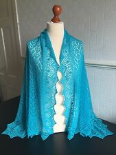 Beautiful lace 100%pure cashmere shawl / scarf / wrap, col: Turquoise Blue