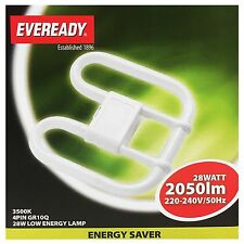 Eveready 4 PIN 28w GR10Q Light Fitting Bulb 2D D Tube Bathroom WC Toilet Ceiling