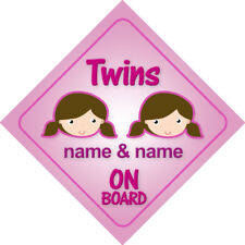Twin Girls On Board Personalized Child Car Sign/Baby Shower Gift Sisters