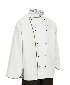Chef Executive Jacket Piping Unisex Polly /cotton Apparel Coat White & Black