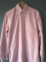 """LACOSTE SHIRT F5182 (38-M-40"""") PINK CHECK LONG-SLEEVE COTTON DEVANLAY S/CUFFS -"""