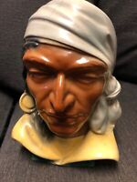 Vintage Royal Copley Pirate Indian Head Vase Wall Pocket Vase Rare Collectible