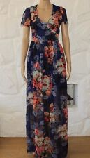 Blue & Collar Flowers ASOS Long Party Club Wear Cocktail Summer Dress Sz 8 / 36