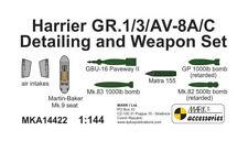 Mark I Models 1/144 Bae Harrier GR.1/3/AV-8A/C Detailing and Weapon Set # MKA144