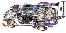 Porsche 935 Martini Racing Turbo década de 1970 Cutaway anuncio Cartel Promo