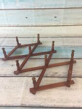 """Wooden Accordion Rack Expandable Wall Hook Rustic Farmhouse Wood Vintage 13"""""""