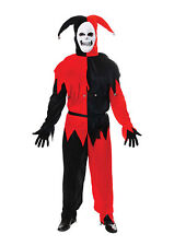 Adult Evil Jester Costume Red Black Mens Scary Halloween Fancy Dress Outfit
