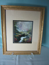 Thomas Kinkade Print Matted & Framed Genuine Accent Print House & Bridge Light