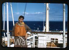 1950s  RBK Photo slide Swedish Ship MS Gripsholm Lady in Life Jacket preserver