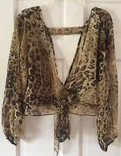 NEW Carpe Diem Animal Leopard Print Sheer Open Back Tie Front Cover-up Top XL