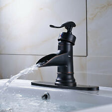 "Oil Rubbed Bronze Basin Faucet Waterfall Vanity Sink Mixer Tap 10""Cover Plate"