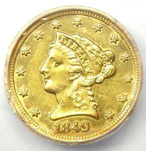 1849-D Liberty Gold Quarter Eagle $2.50 - ICG AU55 Details - Rare Dahlonega Coin