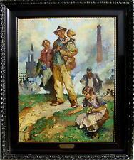 Gustav Olms 1864 - Düsseldorf / Industrie - Gemälde mit Stahlarbeitern / 1926