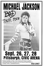 Michael Jackson Bad Tour 1988 Pittsburgh PA Concert Flyer/Poster Replica > King