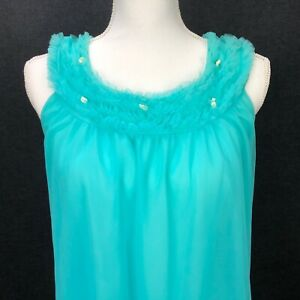 Vintage Sexy Pin Up BabyDoll Nightgown Night Dress Nylon Sheer Lingerie M Blue