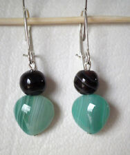 Green and chocolate banded agate drop earrings silver plated hook 4cm