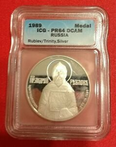 RUSSIA 1989, 1 OZ. SOLD SILVER , ORIGINAL PROOF MEDAL:  A. RUBLEV in Slab ICG !