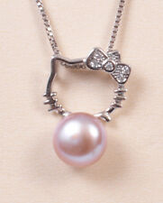 NEW HELLO KITTY CRYSTAL NECKLACE WITH PURPLE PEARL