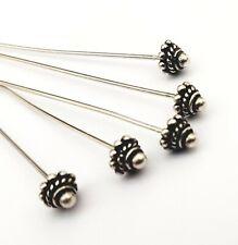 Decorado Headpins ~ ~ perlas de plata esterlina hallazgos Bali fabricación de joyas