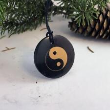 """Pendant """"Yin & Yang"""" of mineral shungite circle"""