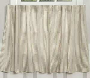 Country Curtains Café Tiers Panel Ticking Striped Natural Rod Pocket Made in USA