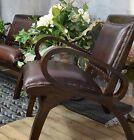 Fauteuil En Teck Cuir Veritable Style Colonial Vintage Bois Solide Marron