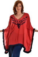 LADIES AZUCAR RED EMBROIDERED PONCHO FRINGED BEACH TUNIC BLOUSE TOP - LRB834