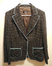 Absolu Confort Womens Blazer Size Medium T4 Jacket Plaid Tweed Metallic France