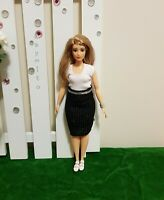 Curvy Office white top and black skirt For Your Curvy Barbie Doll Au Made