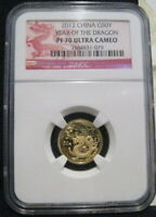 2012 CHINA 50 Yuan YEAR OF THE DRAGON NGC PF70 UC 1/10 oz Gold Proof With COA ~~