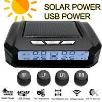 LCD Solar Kabellos TPMS Auto Reifendruck Kontroll System + 4 Externe Sensoren