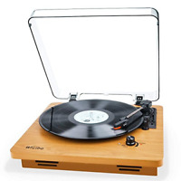 Record Player Vintage Turntable 3-Speed Belt Drive Vinyl Player LP Record wit...