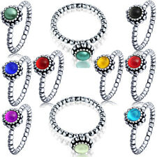 Birthstone 925 sterling silver zircon Ring with 12 colors crystals birthday gift
