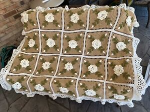 Crocheted Ivory Roses Afghan Throw -  Made Fresh After Sale - 20 Squares