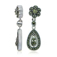 Sterling Silver Marcasite Teardrop and Flower Dangle Earrings