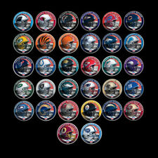 32pcs US NFl Silver Coin 999.9 Silver Plated Metal Coin 32 Teams Metal Coins