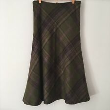 The House Of Bruar 100% Wool Tweed Bias Full Length Plaid Skirt - Size UK 14