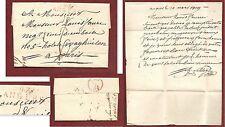 """Lettre 1819 marque port dû -rouge- """" 47 ANGERS """" + cachet -rouge- Grégorien, LAC"""