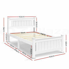 Wooden Single Bed Frame White Solid Pine Wood Fit 190 X 90(cm) Mattress