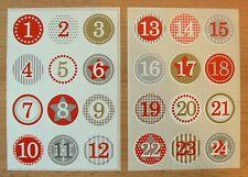 Sticker Aufkleber Zahlen Adventskalender Ziffer Advent, rund 1 - 24, von herma