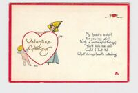 ANTIQUE POSTCARD VALENTINE CUPID PEEKS AROUND HEART LADY STANDS BEHIND EMBOSSED