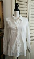J Jill Women's White  Button Front Fitted Shirt Top Size LP Large Petite